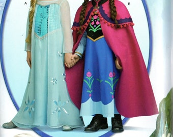 Simplicity FROZEN ANNA & ELSA Costumes Pattern 1233 Girls Sizes 3 4 5 6 7 8