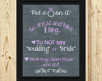 S10B, Instant Digital Download, CHALK, Printable Wedding Sign, Ring Game, Bridal Shower, 8x10, Ring Sign, Put a Ring on it, Download, Purple