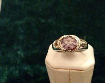 Vintage Amethyst Sterling Silver Ring Size 7 3/4 4.1g AFSP