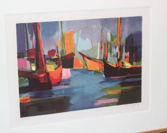 Marcel Mouly Limited Edition Hand-signed in Pencil by the Artist Lithograph Marine Le Soir From '89    51389-010