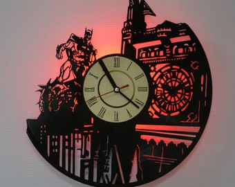 Batman Gotham City Vinyl Record Wall Clock - Led Night Light (Red) - Original Home Decor - Wall Decor - Gift for Adults, Youth, Teens