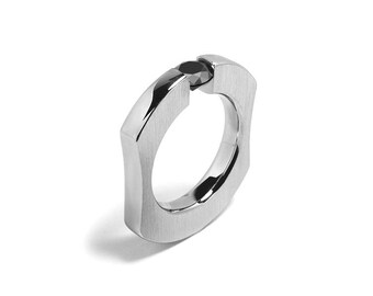Black Onyx Comfort Fit Tension Set  Mens Ring Stainless Steel