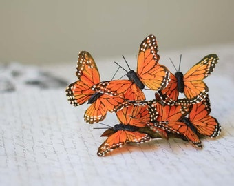 Orange Monarch Butterfly Barrette