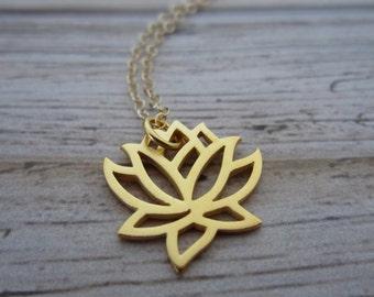 Gold Lotus Necklace-Lotus Necklace-Gold Lotus Flower Jewelry-Minimalist Jewelry-Flower Necklace-Lotus Flower Necklace-Zen Jewelry