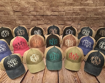 monogram hat, distressed monogrammed hat, distressed, monogram hat, women hat,adams distressed hat, ladies cap,trucker hat, monogram cap