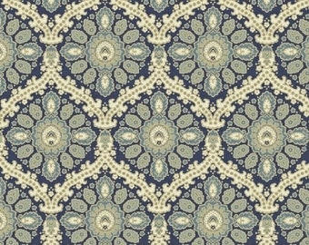 ISADORA by Rosemarie Lavin for Windham Fabrics - 42056-1 Blue and Green Medallions - 100% Premium Cotton