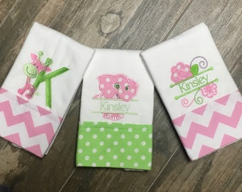 3 Embroidered, Personalized Burp Cloths, Applique Elephant, Giraffe and Floral Pink and Green burp cloth, Boutique Burp Cloth