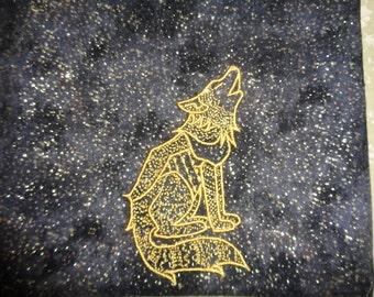 Embroidered Spirit Wolf - Tarot, Rune or Magical Purpose Drawstring Bag