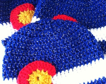 Colorado Flag hat beanie women Sparkly blue white red gold