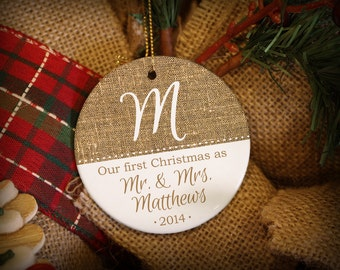 Burlap Texture Newlyweds Personalized Ornament!