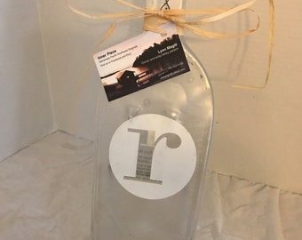 Clear Glass Letter R mongram Wine Bottle Cheese Tray/Platter