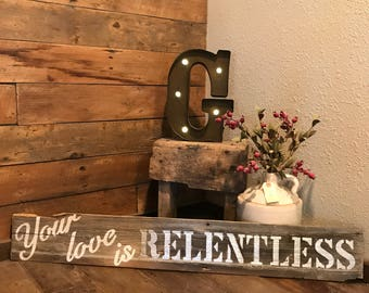 "Wood Wall Sign - ""Relentless"""