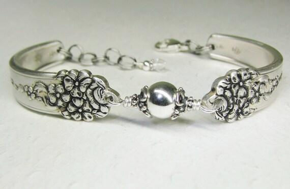 Spoon Bracelet with Sterling Silver Beads, Silverware Jewelry 'Moss Rose' 1949