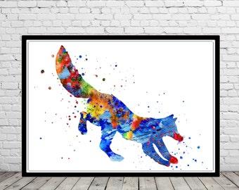 Jumping fox, Fox, running fox, fox print, wild animal, watercolor print, fox art, watercolor fox, animal art