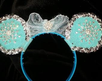Snowflake Mouse Ear Headband - lots of frozen sparkle