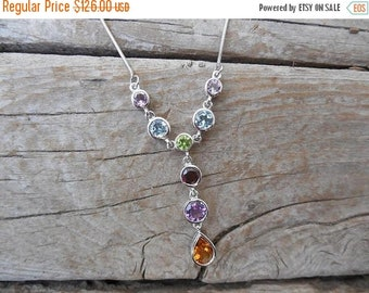 ON SALE Beautiful necklace handmade in sterling silver with genuine semi-precious stones all bezel set