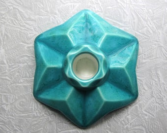 Vintage Goebel Candle Holder, Turquoise Candle Holder, Teal Star Shaped Candle Holder, Goebel Hummel, W. German Ceramics, Candlestick Holder