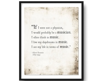 Music Quote Alfred Einstein, Music Wall Art Quote, Music Notes, Music Art Print, Einstein Quote, Gift for the Musician, Inspirational Quote