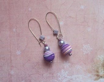 Purple beads dangle earrings
