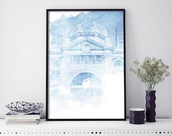 Flinders Street Station, Melbourne  Watercolour Print Wall Art | 4x6 5x7 A4 A3 A2