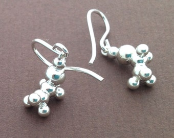 ethanol earrings - alcohol molecule - in solid sterling silver