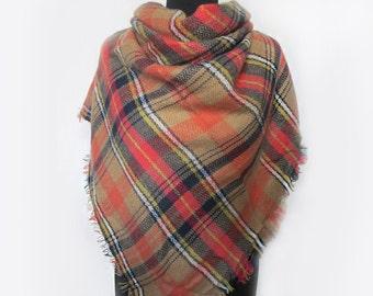 Orange Plaid Scarf, Checkered Blanket Scarf, Mom Gift, Autumn Scarf, Valentines Day Gift for Her, Orange Wrap Shawl, Grandma Gift