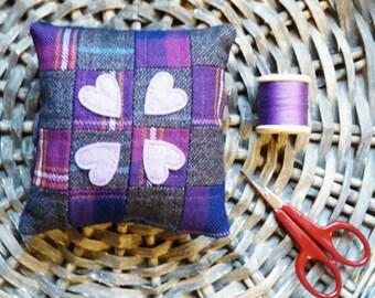 Tartan, Tweed, Heart, Patchwork, Pincushion, Purple, Grey, Handmade, Scotland