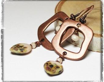 Chai Spice... Handmade Jewelry Earrings Beaded Lampwork Crystal Rustic Boho Vanilla Cream Brown Tan Amber Green Antique Copper Teardrop Long