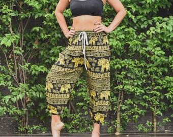 Red Thai Elephant Pants Thai Clothing Boho Clothing Harem Pants Thai Harem Pants Bohemian Pants