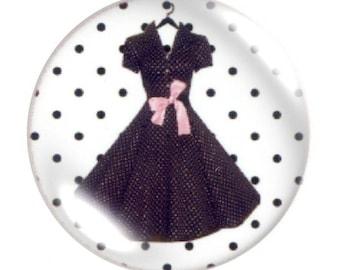 Set of 2 cabochon 25mm round glass dress