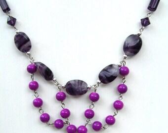 bib necklace purple assorted beads