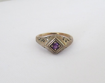Vintage Sterling Silver Natural Amethyst Filgree Ring Size 7