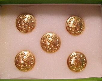 """Set Of 5 Professional 5/8"""" buttons With """"S"""" Stamped On It"""