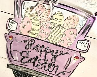 happy easter door hanger // easter eggs + truck {purple} // easter door hanger
