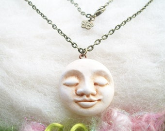 Celestial Moon Necklace Mystic Moon Jewelry Moon Pendant Celestial Jewelry Full Moon Necklace Luna Spirit Moon Face Tranquil and Peaceful