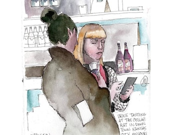 """Print from original watercolor and pen urban sketch, """"Wine Tasting"""" by Mark Alan Anderson."""