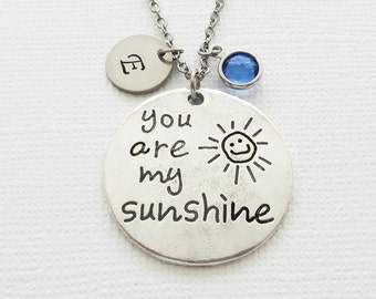 You Are My Sunshine Necklace, Daughter, Child Gift, Birthday Gift, Swarovski Birthstone, Silver Initial, Personalized Monogram, Hand Stamped