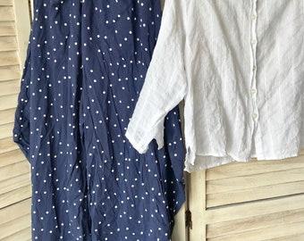 XS lagenlook pant in navy polka dot cotton voile