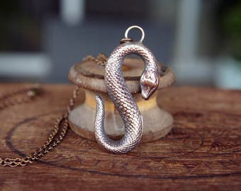 French Brass Stamping Slithering Snake Pendant Necklace
