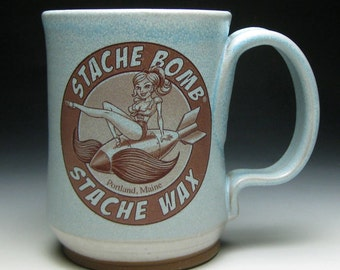 Stache Bomb Stache Wax Mustache Mug with Built in Mustache Guard