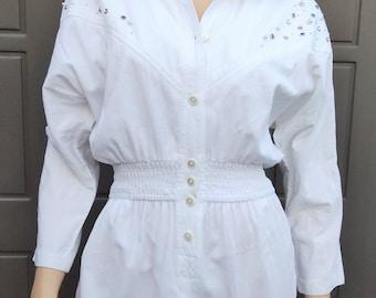 Vintage 80's bejewled white  cotton  Jumpsuit Vintage 80's Sz Small