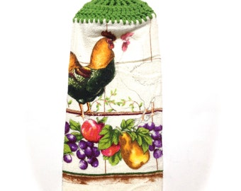 Fruit And Rooster Hand Towel With Grass Green Crocheted Top