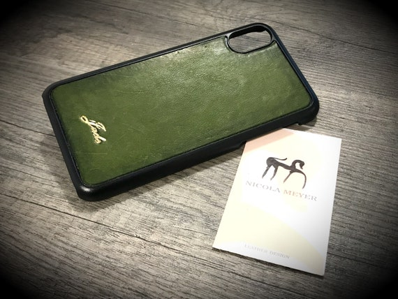 iPhone X Italian Leather Case to use as protection Choose COLOR and monogram