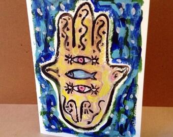 Hamsa Hand, Jewish Card, Judaica Art, Hand Painted Card, Mazel Tov Card, Hamsa Art, Fish Painting, Hamsa painting, Congratulations, Amulet