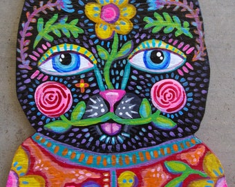 Original Whimsical Folk Art Kitty Cat
