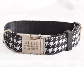 Dog Collar with Personalized Buckle, Houndstooth,Fabric 203