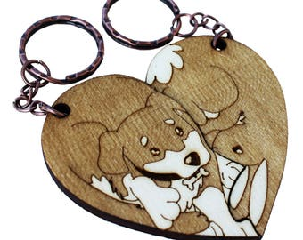 Dog And Bunny couple keychain laser name
