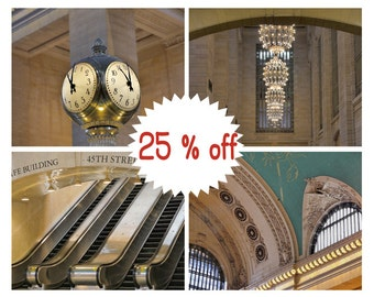 NY photography Grand Central Station prints set of 4, New York City Grand Central terminal, New York decor, architectural prints, B&W option