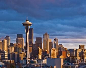 Seattle At Sunset, Fine Art Photography, Seattle Skyline Art, Panoramic Photo, Panoramic Art, Panoramic Photography, Panoramic Print