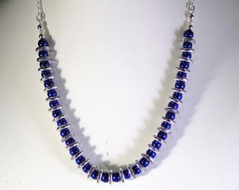 Pearl & Crystal RIngs Necklace - Shown in Blue Pearls with Silver Rings - Available in Several Colors - Glass Pearls